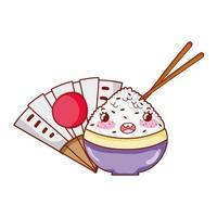 kawaii Reis in Schüssel klebt Lebensmittelfan japanische Karikatur, Sushi und Brötchen
