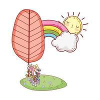 Landschaftsbaum Regenbogen Blumen Sonne Laub Gras Cartoon isoliert Icon Design