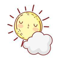 Sonnenwolke Wetter Sommer Cartoon isoliert Icon Design vektor