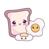 süßes Essen Frühstücksbrot und Spiegeleier süßes Dessert Gebäck Cartoon isoliert Design