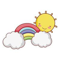 Sonne Regenbogenwolke Himmel Fantasie isoliert Icon Design