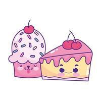 niedliches Essen Cupcake und Scheibe Kuchen Kirsche süßes Dessert Gebäck Cartoon isoliert Design vektor