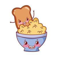 frukost söt flingor i skål och bröd kawaii tecknad vektor