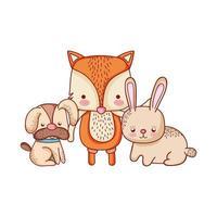 niedliche Tiere, Hundefuchs und Kaninchenkarikatur isolierten Ikonendesign