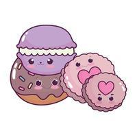 süßes Essen Makronen Donut und Kekse süßes Dessert Gebäck Cartoon isoliert Design