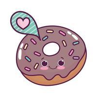 niedliches Essen Donut Sprechblase Liebe süßes Dessert kawaii Cartoon isoliert Design vektor