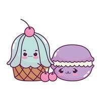 niedliches Essen Cupcake Makrone und Kirschen Obst süßes Dessert Gebäck Cartoon isoliert Design