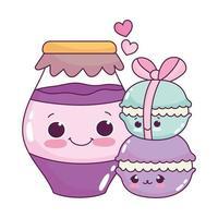 niedliches Essen Macarons und Glas mit Marmelade süßes Dessert Gebäck Cartoon isoliert Design vektor