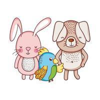 niedliche Tiere, Kaninchenhund und Papageienkarikatur isolierten Ikonendesign
