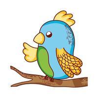 söta djur, papegoja i gren träd tecknad