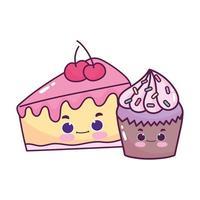 niedliches Essen Cupcake und Scheibe Kuchen Kirsche süßes Dessert Gebäck Cartoon isoliert Design