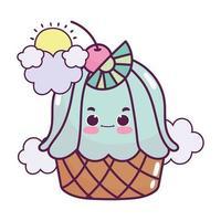 niedliches Essen Cupcake Zitronenwolken Wolken süßes Dessert Gebäck Cartoon isoliert Design vektor