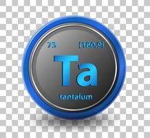tantal kemiskt element. kemisk symbol med atomnummer och atommassa.