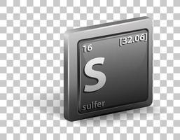 sulfer kemiskt element. kemisk symbol med atomnummer och atommassa.