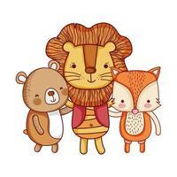 niedliche Tiere, Cartoon Löwenfuchs und Bär Cartoon isoliert Icon Design vektor
