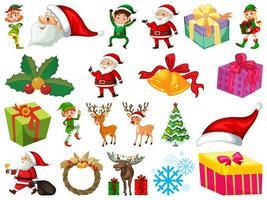 Satz Weihnachtsmann-Zeichentrickfigur und Weihnachtsobjekte lokalisiert auf weißem Hintergrund
