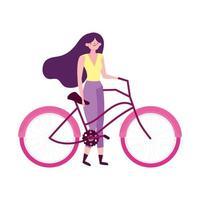 junge Frau mit Fahrrad Freizeit lokalisierte Ikone vektor