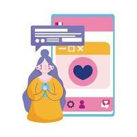 människor och smartphone, ung kvinna med mobil sms chatt pratbubbla tecknad vektor