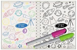 uppsättning utrymme element doodle på anteckningsboken vektor