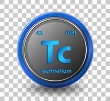 Technetium chemisches Element. chemisches Symbol mit Ordnungszahl und Atommasse.