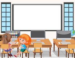 ung student som använder datorn i klassrumsscenen vektor