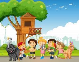 Gruppe von Haustieren mit Besitzer in der Parkszene vektor