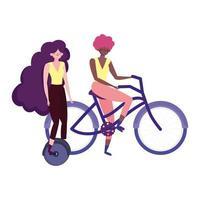 miljövänlig transport, unga kvinnor som pratar och rider på enhjuling och cykel vektor