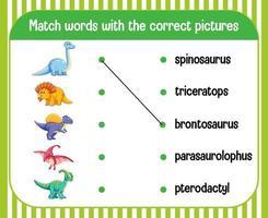 Wort zu Bild passendes Arbeitsblatt Dinosaurier-Thema