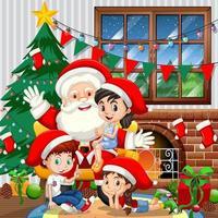 Weihnachtsmann mit vielen Kindern in der Zimmerszene vektor