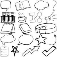 Satz von Gegenstand und Symbol handgezeichnetes Gekritzel vektor