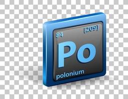 polonium kemiskt element. kemisk symbol med atomnummer och atommassa.