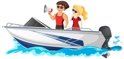 ein Paar, das auf einem Schnellboot steht, lokalisiert auf weißem Hintergrund