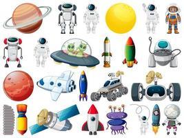 uppsättning rymdobjekt och element vektor