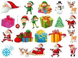 uppsättning jultomten seriefigur och julobjekt isolerad på vit bakgrund vektor