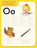 Arbeitsblatt zur Alphabetverfolgung mit den Buchstaben o und o vektor