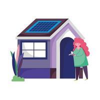 Menschen und Smartphone, Frau mit Handy außerhalb des Hauses
