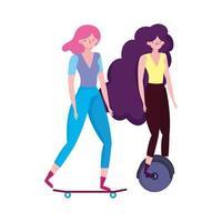 umweltfreundlicher Transport, Frauen, die Einrad und Skateboard fahren
