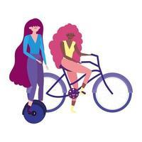 umweltfreundlicher Transport, Frauen mit Einrad- und Fahrrad-Comicfiguren