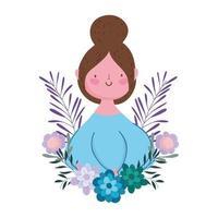 glücklicher Muttertag, Fraublumen verlässt Dekoration Natur isoliertes Design vektor