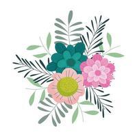 Blumen Blätter Laub Naturdekoration isolierte Ikone