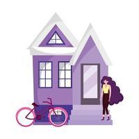 umweltfreundlicher Transport, Fahrrad der jungen Frau außerhalb des Hauses vektor