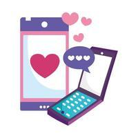 smartphone-enheter teknik chatt kärlek pratbubbla vektor