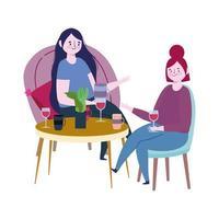 sozial distanzierendes Restaurant oder ein Café, Frauen, die mit Glaswein sprechen, halten Abstand, Covid 19 Coronavirus, neues normales Leben vektor