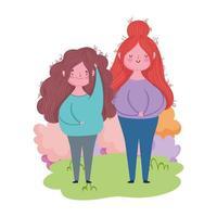 lycklig mödrar dag, unga kvinnor i gräs lövverk design vektor