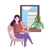 Restaurant soziale Distanzierung, Frau mit Kaffeetasse Blick auf Fenster, Prävention covid 19 Coronavirus
