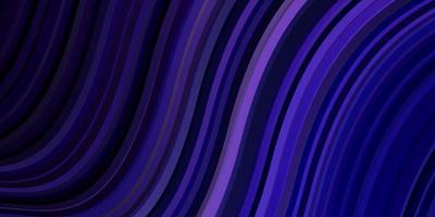 mörk lila vektor bakgrund med böjda linjer.