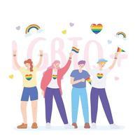 lgbtq community, aktivister som deltar i lgbtq stolthet med regnbågsflaggor vektor
