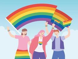 människor som håller lgbtq-flaggor stöder gemenskapen, gayparaden protest mot sexuell diskriminering vektor