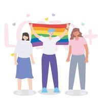lgbtq-samhället, människor med regnbågsflagga, gayparade protest mot sexuell diskriminering vektor