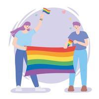 lgbtq-community, lycklig man och kvinna med firande med regnbågsflagga, gayparade protest mot sexuell diskriminering vektor